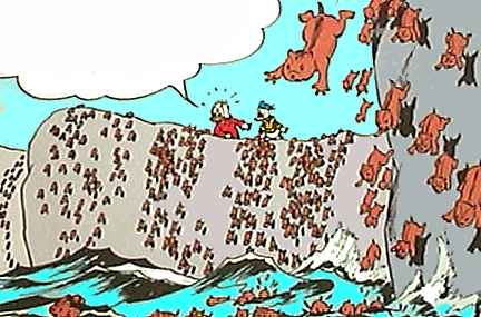 like lemmings to the sea Definition of lemming in english: lemming noun 1 a small, short-tailed,  which in popular belief sometimes culminate in the animals jumping off cliffs into the sea example sentences  'or do they rush into the trap like so many elite lemmings'.