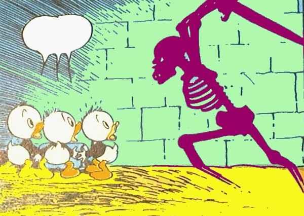 Ungerne jages af spøgelset, tegning af Carl Barks